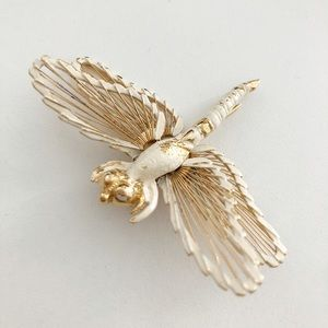 Jewelry - Dragonfly Gold/White Brooch
